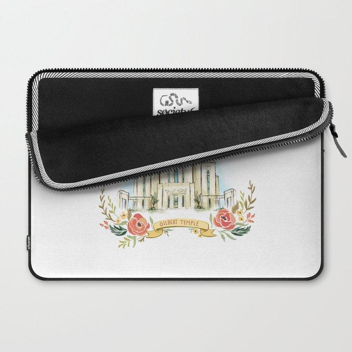 Gilbert Arizona LDS watercolor Temple with flower wreath  Laptop Sleeve