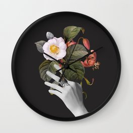 Hands With Flowers Wall Clock