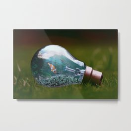 Life in a Light Bulb Metal Print