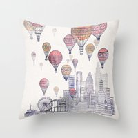 santa monica Throw Pillows featuring Voyages Over Santa Monica by David Fleck