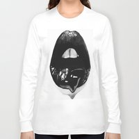 ink Long Sleeve T-shirts featuring Ink Lips by Mjenai