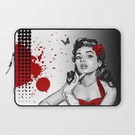 Trash Polka Retro Pinup Girl & Butterfly Laptop Sleeve