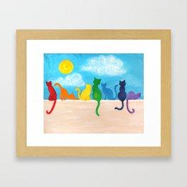 Catch A Rainbow - Cats on a Wall Framed Art Print