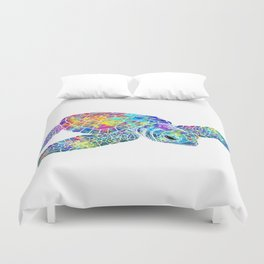 Colorful Sea Turtle Watercolor Art Duvet Cover