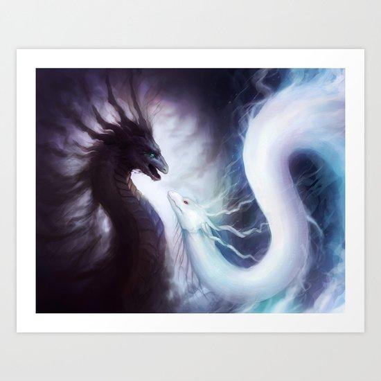 """""""Dragons of YIN and YANG"""" Art Print"""