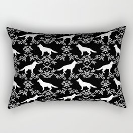 German Shepherd florals dog lovers dog silhouette floral pet pattern dogs Rectangular Pillow