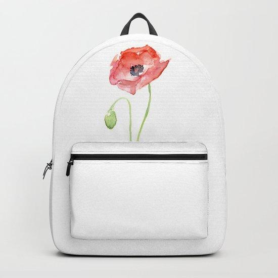 Red Poppy Flower Flowers Backpack