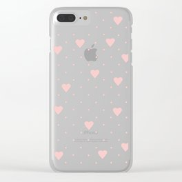 Pin Point Hearts Blush Clear iPhone Case