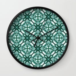 Watercolor Green Tile 3 Wall Clock
