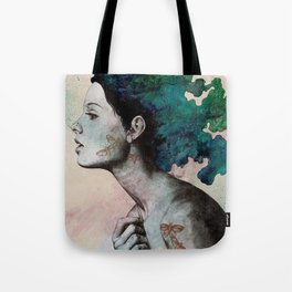 Moral Eclipse (colorful hair woman with moths tattoos) Tote Bag