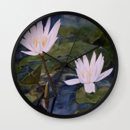 Watercolor Flower Water Lily Landscape Nature Wall Clock