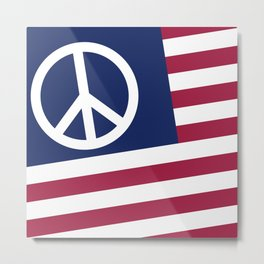 Peace and Love USA Flag Metal Print
