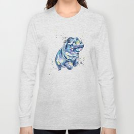 Hippo Colorful Watercolor Hippo Painting - Grace Long Sleeve T-shirt