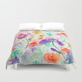 Watercolor Abstract Floral Pattern purple Orange Blue Iris Duvet Cover