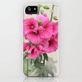 Pink flowers, watercolors iPhone Case