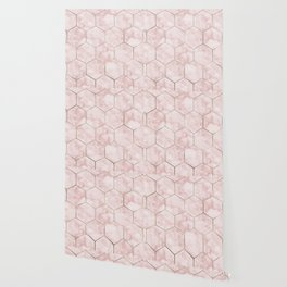 Cloudy pink marble hexagons Wallpaper
