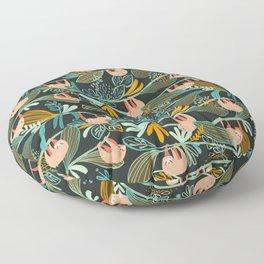 Jungle Sloths Dark Floor Pillow