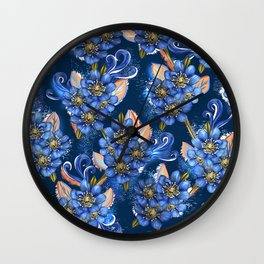Luxury Blue Floral Wall Clock