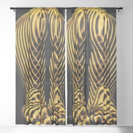 2114s-MS Abstract Art Nude Back Bum Booty Gold Lines of Light Sheer Curtain