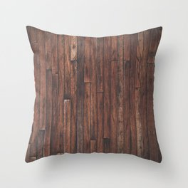 Cherry Stained Wood Barn Board Texture Throw Pillow