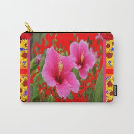 TROPICAL RED-PINK HIBISCUS FLOWERS PATTERNS Carry-All Pouch