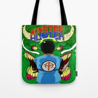 monster hunter Tote Bags featuring Monster Hunter by Rasheed Daoud Hines