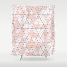 Pink geometrc trianges print Shower Curtain