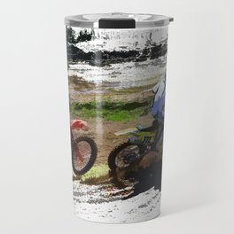 On His Tail - Motocross Sports Art Travel Mug