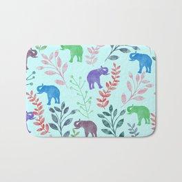Watercolor Flowers & Elephants II Bath Mat