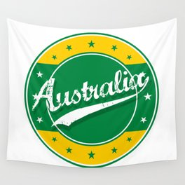 Australia, circle, green yellow Wall Tapestry