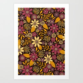 Purple, Yellow, Magenta & Gold Floral Pattern Art Print