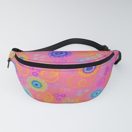 RASPBERRY FIZZ - Sweet Pink Fruity Candy Swirls Abstract Watercolor Painting Bright Feminine Art Fanny Pack