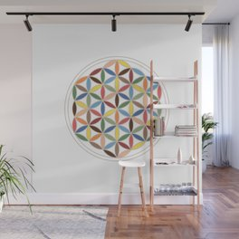 Flower of Life Retro Colors Wall Mural