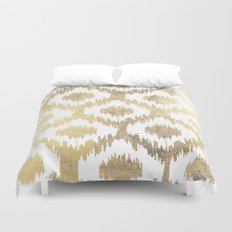 Modern white hand drawn ikat pattern faux gold  Duvet Cover