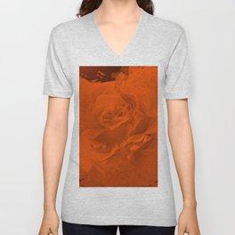 Bloomed Rose Warm Orange Unisex V-Neck