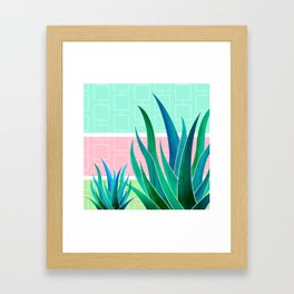 Palm Springs Mood ~ Midcentury Succulents Framed Art Print