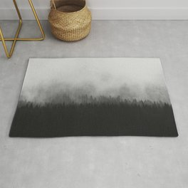 Minimalist Modern Black And white photography Landscape Misty Black Pine Forest Watercolor Effect Sp Rug