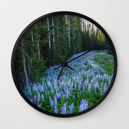 High Country Lupine - Purple Wildflowers in Montana Mountains Wall Clock