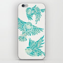 Owls in Flight – Turquoise Palette iPhone Skin