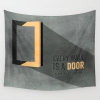 door Wall Tapestries featuring The door opens by Schwebewesen • Romina Lutz
