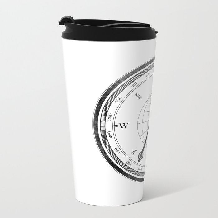 Textured Compass on White Metal Travel Mug