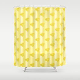 Lemon Slices on Yellow Stripes Shower Curtain