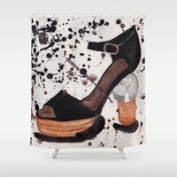 shoe Shower Curtains featuring Shoe by Melania B