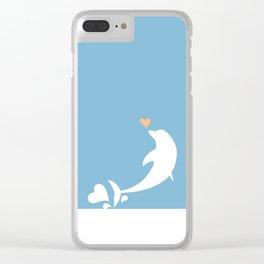 Ocean Dolphin Blue Heart Love Clear iPhone Case