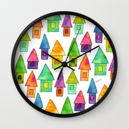 Home Sweet Home house illustration holiday gift family parents housewarming gift grandparents Wall Clock