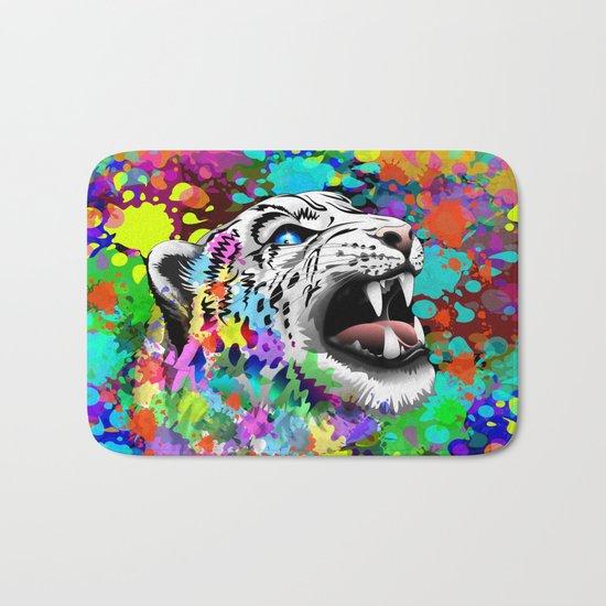 Leopard Psychedelic Paint Splats Bath Mat