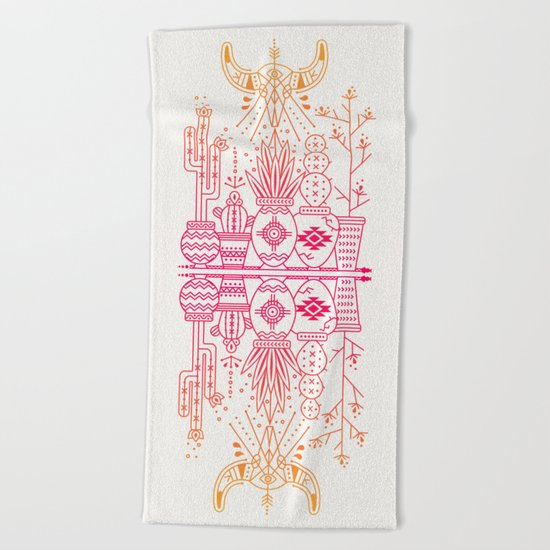 Santa Fe Garden – Pink/Orange Ombré Beach Towel