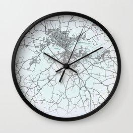 Randers, Denmark, White, City, Map Wall Clock