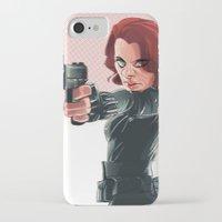 black widow iPhone & iPod Cases featuring Black Widow by nachodraws