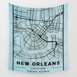 New Orleans - Louisiana Aquarius Watercolor Map Wall Tapestry